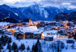 View of Aussois su Arc village by night, France